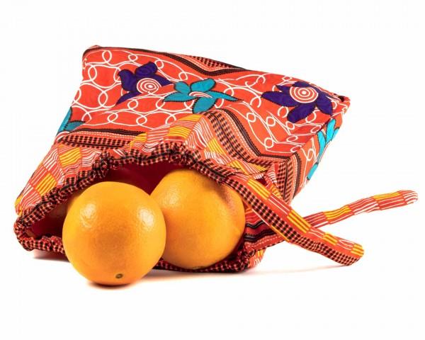 Obst, Gemüse oder Brotbeutel - Streifenmuster- orange