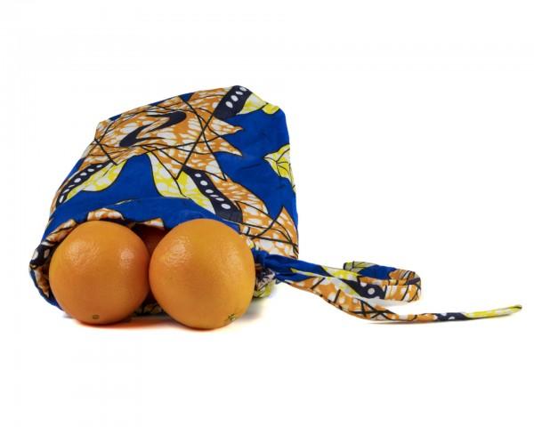 Obst, Gemüse oder Brotbeutel - Streifenmuster- Blauer Diamant
