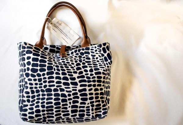 Safari-Tasche aus äthiopischem Baumwollstoff - natur-schwarz